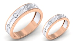 18K Gold and 0.13 Carat E Color and VS Clarity Diamond Couple Ring