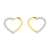 14K Gold and 0.17 carat Round Diamond Heart Earrings