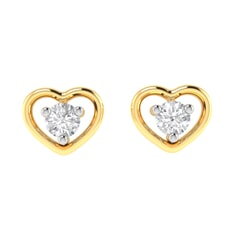 14K Gold and 0.14 carat Round Diamond Heart Earrings