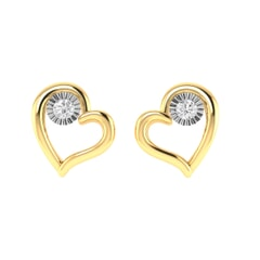14K Gold and 0.04 carat Round Diamond Heart Earrings