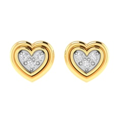 14K Gold and 0.05 carat Round Diamond Heart Earrings