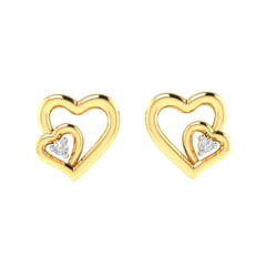 14K Gold and 0.02 carat Round Diamond Heart Earrings