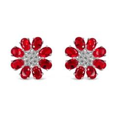Ruby Sterling Silver Earrings