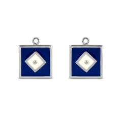 Blue Square Sterling Silver Earrings