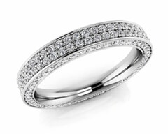 18KT Gold Double Rows Diamond Eternity Ring