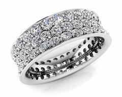 18KT Gold Triple Rows Diamond Eternity Ring