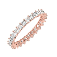 18KT Gold and 1.93 Carat F Color VS Clarity Princess Diamond Eternity Ring