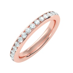 18KT Gold and 0.96 Carat F Color VS Clarity Round Diamond Eternity Ring