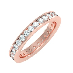 18KT Gold and 1.20 Carat F Color VS Clarity Round Diamond Eternity Ring