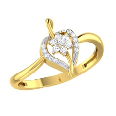 14KT Gold and 0.08 Carat F Color VS Clarity Diamond Ring