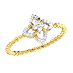 14KT Gold and 0.09 Carat F Color VS Clarity Diamond Ring