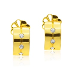 Stud Earrings in 18K Gold and 0.17 carat Diamonds