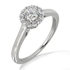 18KT Gold and 0.30 carat Halo Engagement Diamond Ring with Certificate