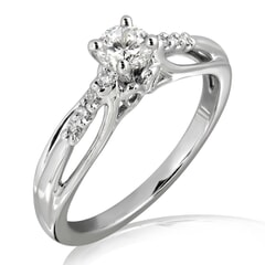 18K Gold and 0.25 Carat E Color VS2 Clarity Diamond Promise Ring