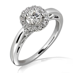 0.50 Carat D Color Engagement Ring with Side Diamonds with Certification