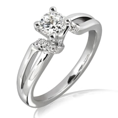 18KT Gold and 0.25 Carat E Color VS2 Clarity Diamond Ring
