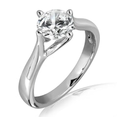 Kulap - 18k Gold and 1.00 carat Solitaire Engagement Diamond Ring with Certificate