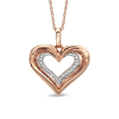 18K Gold and 0.10 Carat F Color VS Clarity Heart Diamond Pendant with 16 Inches Chain