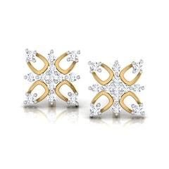Round Diamond Flower Earrings