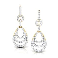 Round Diamond Drop Earrings
