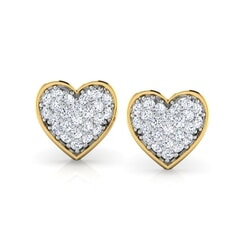 Round Diamond Heart Earrings