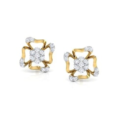 Round Diamond Flower Earrings