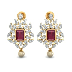 18KT Gold and 2.50 Carat Ruby and 0.31 Carat Diamond Earrings