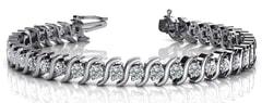 Wavy Hood Link Diamond Tennis Bracelet Ranging from 0.75 - 1.95 Carat