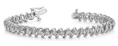 Faceted Spiral Link Diamond Tennis Bracelet Ranging from 1.04 - 3.96 Carat