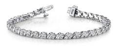 Wavy Hood Link Diamond Tennis Bracelet Ranging from 0.65 - 2.50 Carat