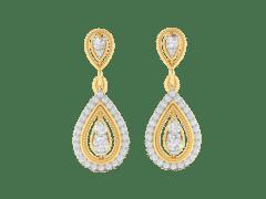 Dangling earrings in 18K Gold and 1.08 carat diamonds
