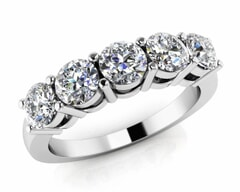 18KT Gold Five Stone Diamond Anniversary Ring