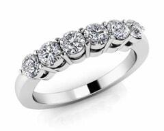 18KT Gold Six Stone Diamond Anniversary Ring