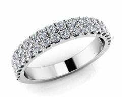 18KT Gold Double Rows Diamond Anniversary Ring
