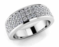 18KT Gold Triple Rows Diamond Anniversary Ring