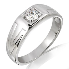 18K Gold and 0.20 Carat F Color VS Clarity Men's Diamond Band