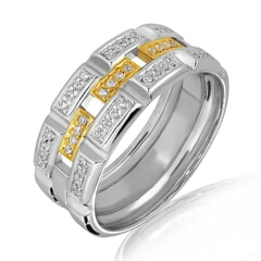 18K Gold and 0.35 Carat E Color and VS2 Clarity Diamond Designer Band