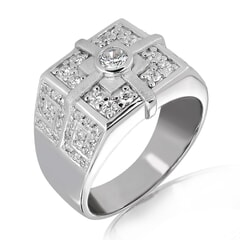 18K Gold and 0.75 Carat E Color and VS2 Clarity Diamond Designer Band