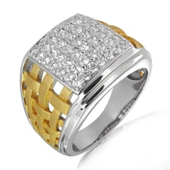 18K Gold and 1.23 Carat E Color and VS2 Clarity Diamond Designer Band