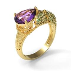Contemporary Ring in 18K Gold and Semi Precious Stones