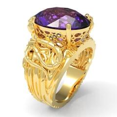 Contemporary Ring in 18K Gold, Diamonds and Semi Precious Stones