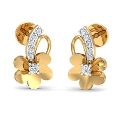 18k Gold and 0.10 carat Round Diamond Fancy Earrings
