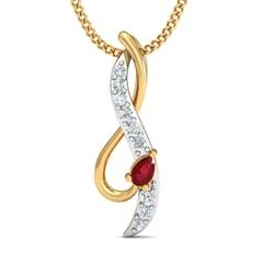 Round Diamond and Gemstone Pendant