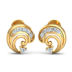 18KT Gold and 0.09 Carat Diamond Earrings