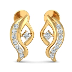 18KT Gold and 0.10 Carat Diamond Earrings