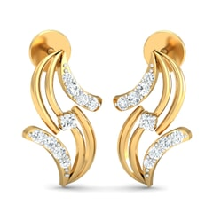 18KT Gold and 0.13 Carat Diamond Earrings