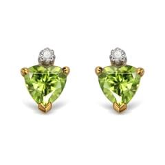 14K Gold Peridot and Diamond Earrings