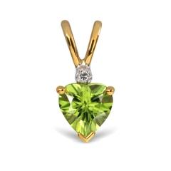 14K Gold Peridot and Diamond Pendant
