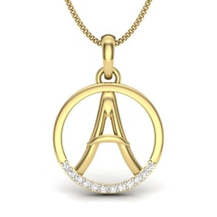 A -14KT Gold and 0.06 Carat F Color VS Clarity Initial Pendant