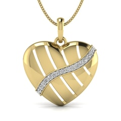 18KT Gold and 0.10 Carat Round Diamond Heart Pendant